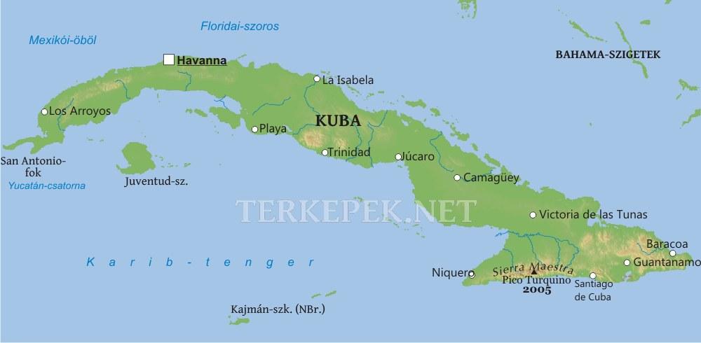 kuba térkép Kuba domborzati térképe kuba térkép